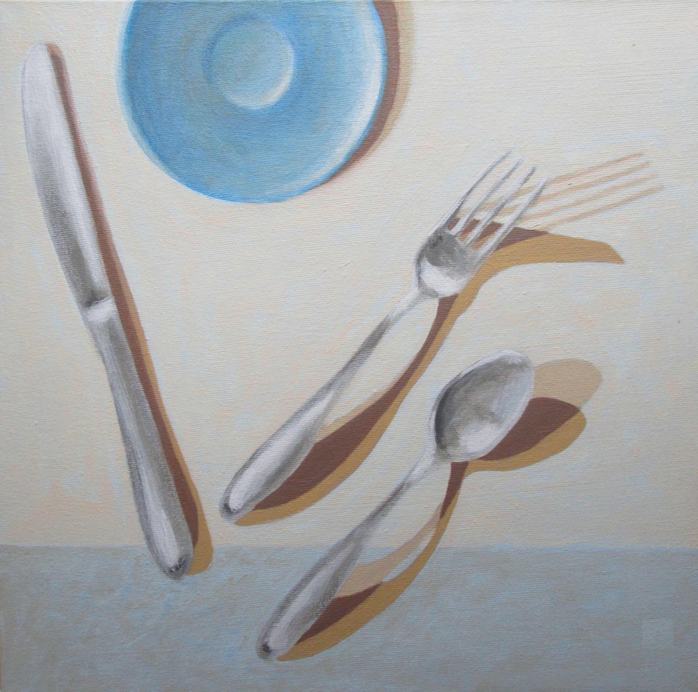 Blue Saucer w three Utensils by Adele Derkowski
