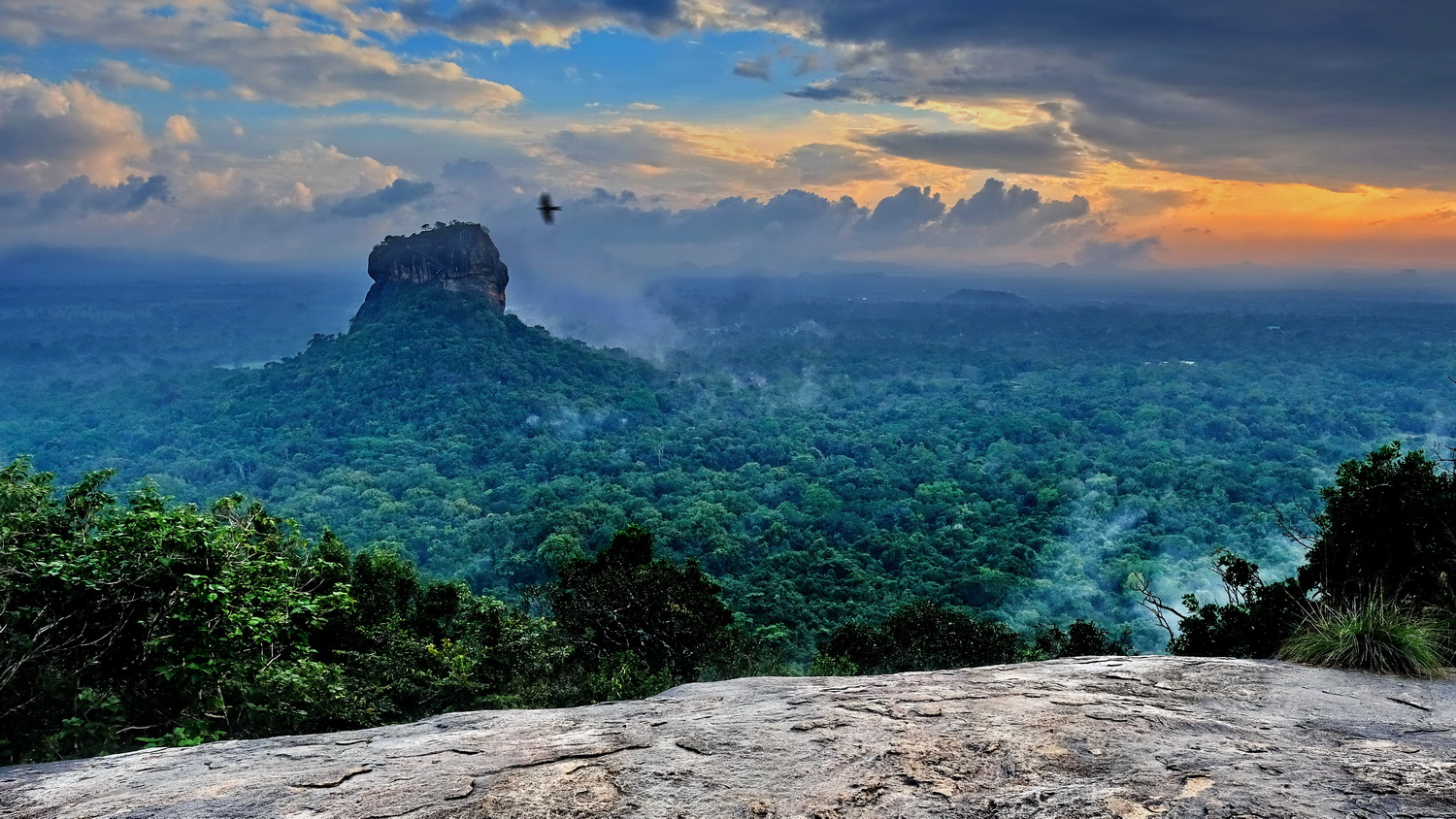 Ancient Rock Fortress above steamy jungle by Martin Lamprecht