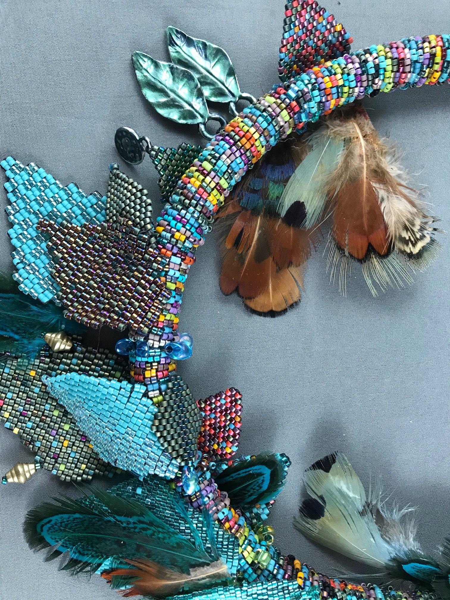 Turquoise Feather Necklace by Beverley Smith