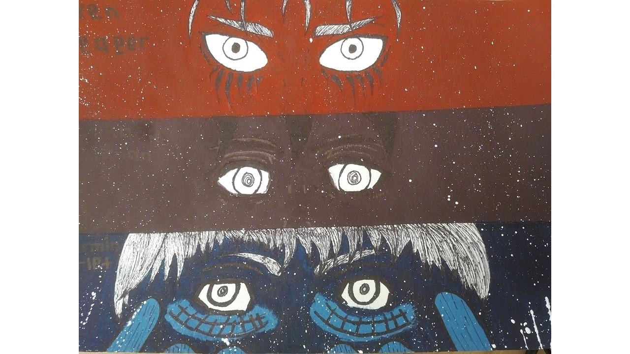 Eren Yeager, Mikasa Akerman and Armin Arlet by Ana Anglade-Armand