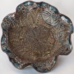 Stoneware Bowl with Lace Imprint