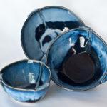Set of Folded Stoneware Bowls