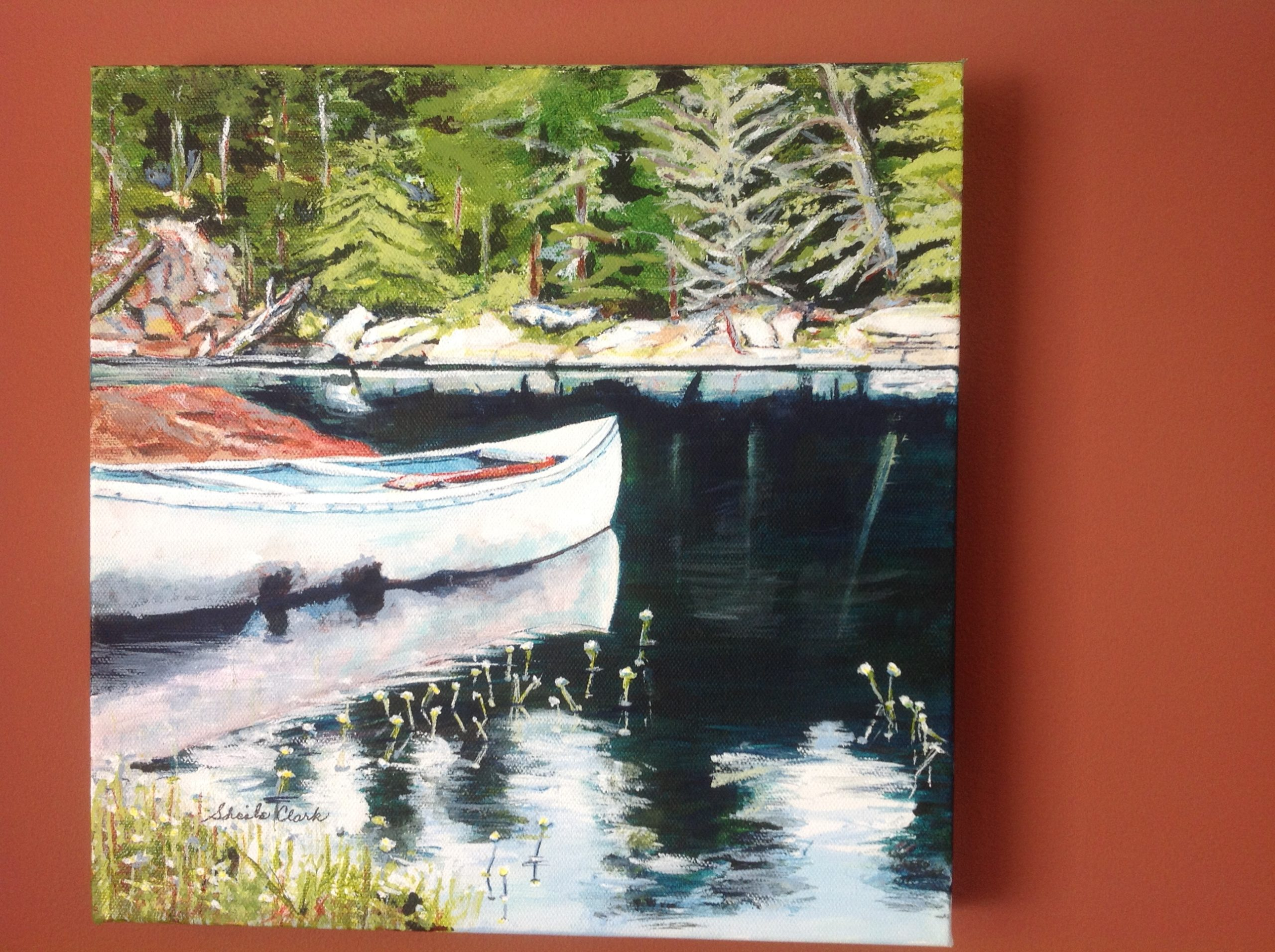 Tranquility. (White canoe) by Sheila R Clark